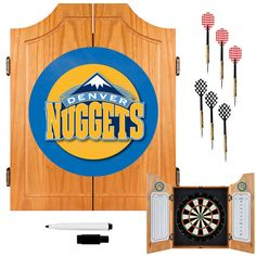 Trademark Commerce NBA7000-DN Denver Nuggets NBA Wood Dart Cabinet Set