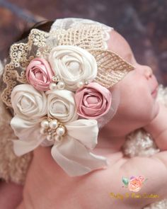 Flower girl headband Baby headbandLace by PrettyandPoshCouture