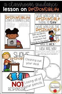 A classroom guidance lesson on responsibility. Elementary School Counselor, School Counseling, Elementary Schools, Career Counseling, Character Education, Character Development, Teaching Character, Emotional Development, Physical Education