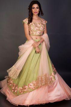 Buy Green & Peach Resham Embroidered Bridesmaids Lehenga Online Indian Dresses, Indian Outfits, Lehenga Crop Top, Cape Lehenga, Net Lehenga, Lehenga Choli Designs, Choli Dress, Gown Dress, Designer Bridal Lehenga