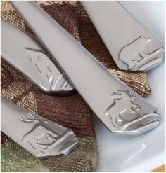 FLATWARE SET Silver 45 Piece Silverware Cabin Lodge Style Decor Camp Moose Deer #Lodge