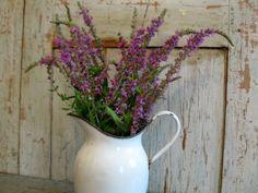 vintage enamelware pitcher / vase / lovely by AntiqueShopGirl, $40.00