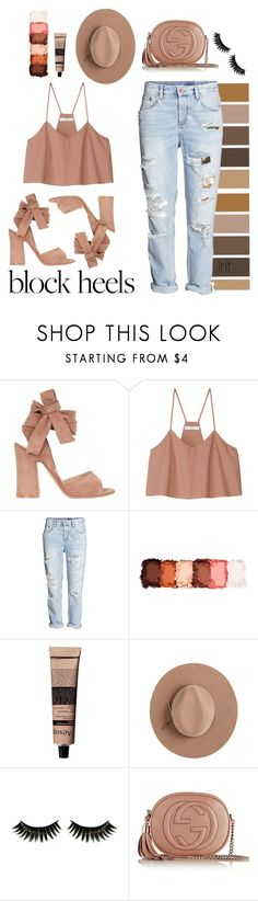 """""""blockfeels"""" by goldcouture ❤ liked on Polyvore featuring Gianvito Rossi, TIBI, H&M, NYX, Aesop, Calypso Private Label, Boohoo, Gucci, girly and brown"""