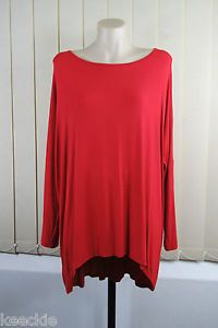 Size L 14 Ladies RED Tunic TOP Asymmetrical Stretch Layer Casual Loose FIT Style | eBay