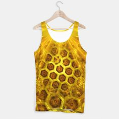 Golden Honeycombs Tank Top, Live Heroes @liveheroes by @photography_art_decor. All product: https://liveheroes.com/en/brand/oksana-fineart #fashion #clothing #online #shop #gold #golden #honeycombs #honey #bee #summer #graphic #design #geometry #geometric #yellow #metalic #bright #shine #pattern #psychedelic #abstract #metalic #sun #abstract #briht #pattern  #trendy #stylish #fashionable #modern #awesome #amazing #clothes