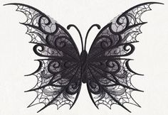 Intricate lacy textures combine with dimensionally eerie swirls to create this otherworldly butterfly.