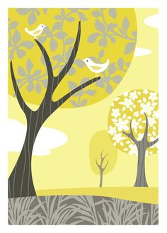 Gray and Yellow Landscape 5 X 7 Art Print by pictorialboom on Etsy