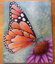 Esta descansando sobre una flor de la mariposa monarca es pintadas a mano con pintura acrílica sobre lienzo. El lienzo mide 11 x 14. La pintura ha sido acabada con un brillo y es firmada y fechado por el artista (me). Los lados de la lona se pintan, por lo que no hay necesidad de un marco. Si usted