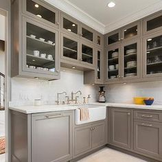 Gray Painted Kitchen Cabinets with Ann Sacks Subway Tiles
