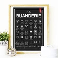 Affiche la buanderie avec les instructions pour le lavage http://www.homelisty.com/affiche-poster-buanderie/