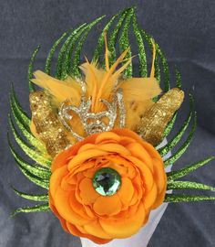 Glitter green orange yellow amber jewel floral hair by fayeven