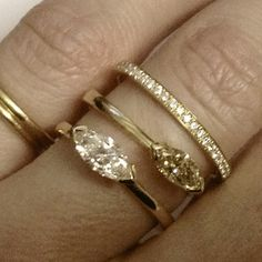 Marquise cut diamond rings and fine eternity ring in gold