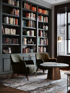 Home Library Rooms, Home Library Design, Home Libraries, Home Office Design, Home Office Decor, Home Interior Design, Home Decor, Modern Interior, Luxury Office