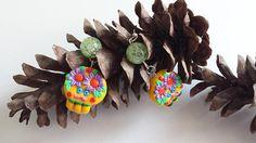 #polymerclay #skulls #halloween Orecchini teschi in fimo handmade kawaii idee regalo halloween