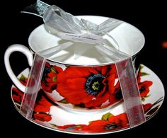 GRACE'S TEAWARE JUMBO COFFEE TEACUP & SAUCER SET RED POPPY FLORAL PORCELAIN NEW #GRACESTEAWARE