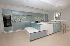 Blue and white gloss kitchen