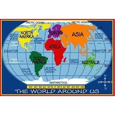 Kids World Map Rug 5 Ft. 3 In.X 7 Ft. 6 In.-Kids World Map Rug 5 ft. 3 in.x 7 ft. 6 in. Enjoy a bit of fun with this great rug. It is 100 percent nylo World Map Rug, Kids World Map, Area Rug Sizes, Area Rugs, Major Oceans, Time Kids, Fun Time, Childrens Rugs, Oceans Of The World