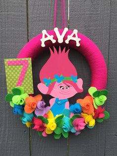 Trolls Wreath // Poppy Pink Troll // Girls Birthday Party
