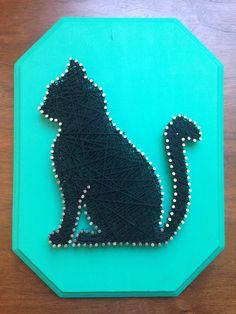 "8.5""x 1.5""x 11.5"" Teal/Black Strings, Nails, and Wood By Amy Perrier"