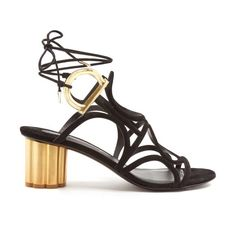 Vinci flower-heel suede sandals by Salvatore Ferragamo. Look to Salvatore Ferragamo's black suede Vinci sandals to add statement appeal to the simplest of looks. They're exp...