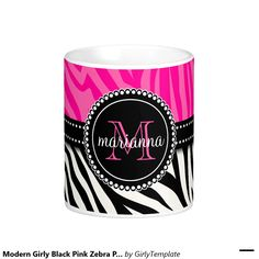 Modern Girly Black Pink Zebra Print Personalized Classic White Coffee Mug