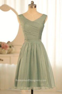 Vintage sage bridesmaid dress with wide straps for sleeveless bodice, pleats details adorned on the bodice while short skirt finished.