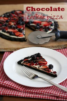 Chocolate Cookie Pizza with Berries and Pomegranate. Win your kids over with this healthy gluten-free cookie pizza!