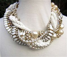 Chunky Pearl Rhinestone Necklace Ivory & White by AllThingsTinsel