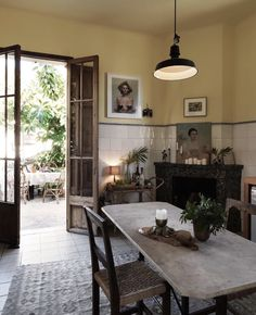 Kitchen dining space with yellow walls in a boho home on Mallorca The bohemian home of Dusty Deco founders on. Interior Exterior, Home Interior, Interior Decorating, Rustic Entryway, Entry Way Design, Boho Home, Bohemian Homes, My New Room, Elle Decor