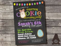 Easter Cookie Decorating Invitation, Milk and Cookies Invitation, Cookie Decorating Party, Printable Invitation for Kids Birthday Party by RockCreekPaperCo on Etsy
