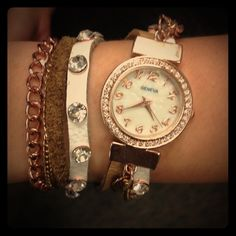 Beautiful faux rose gold wrap watch Beautiful wrap watch with rhinestone detail and faux mother of pearl face Jewelry Bracelets