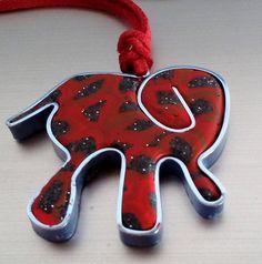 "Rotes Lederhalsband mit "" Preis Euro --- Red Leather necklace with Pendant "" Price Euro --- Collar de cuero rojo con de único ""elefante"" Precio Euro Animal Art Prints, Lion Art, Colorful Animals, Elephant Art, Classic Outfits, Leather Necklace, Red Leather, Etsy, My Style"