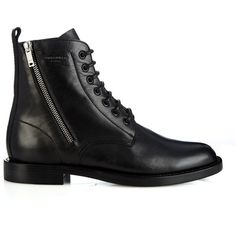 Saint Laurent Lace-up leather biker ankle boots ($1,345) ❤ liked on Polyvore featuring shoes, boots, ankle booties, black, combat boots, black leather booties, leather ankle boots, leather combat boots and leather booties
