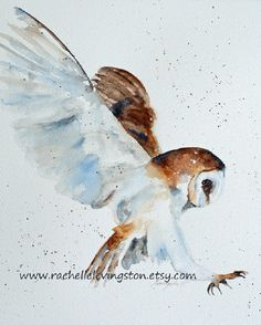 watercolor painting owl PRINT owl Painting por rachellelevingston