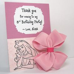 Sleeping Beauty Birthday Party Favors, Pink Hair Bow on Thank You Card - set of 15