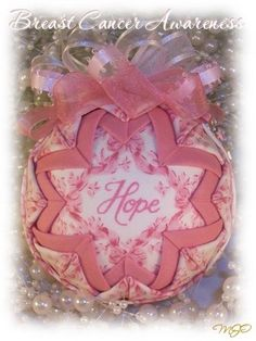 Breast Cancer Awareness Quilted Ornament-Quilted Ornament, quilted ornaments, Breast cancer awareness, Christmas ornament, quilt ball, fabri...
