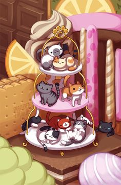 "shattered-earth: "" Been holding off on a neko atsume print for the longest time because i didn't know what to do. BUT they released the sweets remodel and i knew instantly what i had to do.. @O@ Will appear at fanime, Ax, otakon etc. yay """