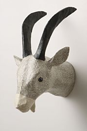 Recycled Paper Mache animal head-for will's room