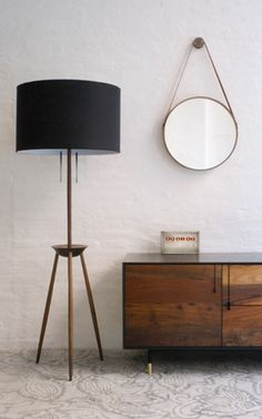 BDDW - Tripod floor lamp in black. mirror and credenza are great, too. Furniture Inspiration, Interior Inspiration, Interior Architecture, Interior Design, Monochrom, Home And Deco, Tripod Lamp, Inspired Homes, Floor Lamp