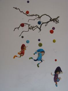 Waldorf inspired needle felted nursery mobile - the rainbow pixies. $98.00, via Etsy.