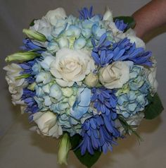 Hand-Tied Bouquet Featuring White Roses and Blue Hydrangea