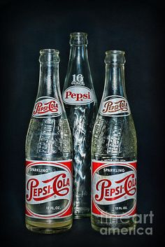 Pepsi Bottles from the Art Print by Paul Ward. All prints are professionally printed, packaged, and shipped within 3 - 4 business days. Antique Bottles, Vintage Bottles, Vintage Labels, Vintage Ads, Vintage Packaging, Vintage Food, Pop Bottles, Drink Bottles, Pepsi Cola