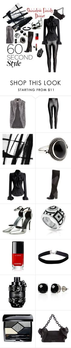 """""""Shameless Family Dinner"""" by michele-nyc ❤ liked on Polyvore featuring DKNY, Art Addiction, Accessorize, Frye, Belle Etoile, Chanel, Miss Selfridge, Viktor & Rolf, Belk & Co. and Christian Dior"""