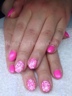 Matte hot pink with white lace effect