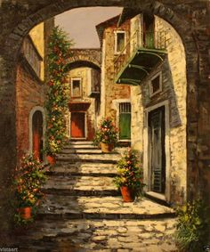 """Oil Painting On Stretched Canvas 20""""x 24""""- Cobblestone Alley #Realism"""