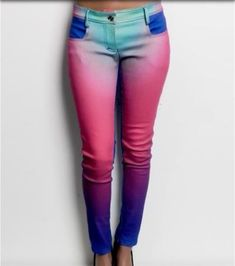 wonder if I could turn these into a DIY.it's just tie dye after all. These jeans are so cute! Dye Jeans, Denim Pants, Trousers, Diy Fashion, Womens Fashion, Cute Pants, Girly, Colored Pants, Colored Denim
