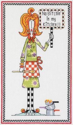 "Dolly Mamas ""No Bitchin' In My Kitchen!!"" Cross Stitch Kit - Janlynn"