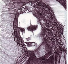 Brandon Lee as Eric Draven in The Crow movie. I saw The Crow just some days ago. Movie Tattoos, Body Art Tattoos, Crow Tattoos, Phoenix Tattoos, Ink Tattoos, The Crow, Crow Movie, Symbols Of Strength Tattoos, Horror Drawing