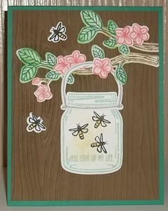 Stampin' on the Prairie: Jar of Fireflies, Stampin' Up! Jar of Love stamp set, Everyday Jars Framelits, Best Birds stamp set, Birds & Blooms Thinlits.