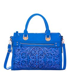 Look at this Segolene Paris Navy Blue Floral Cutout Tote on #zulily today!
